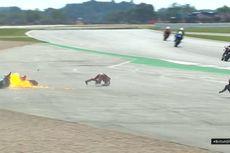 MotoGP Inggris, Dovizioso Kecelakaan Sampai Motornya Terbakar