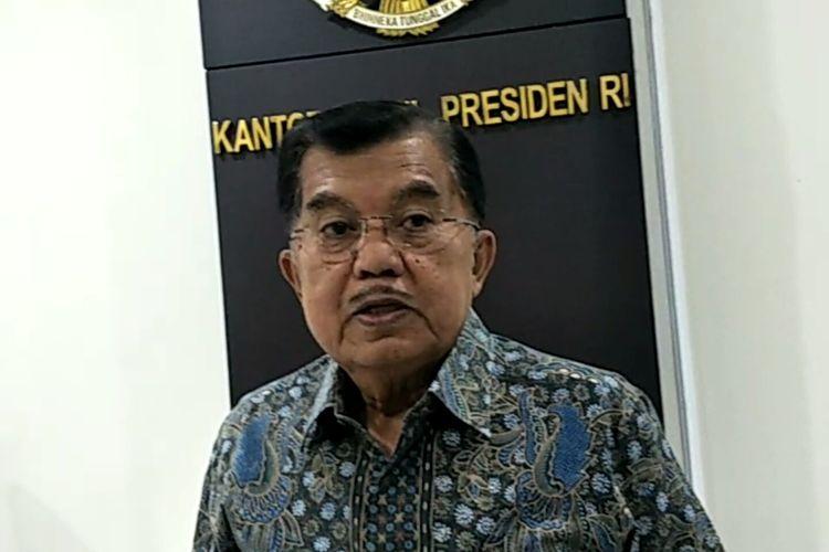 Wapres Jusuf Kalla di Kantor Wakil Presiden, Jakarta, Jumat (15/3/2019).