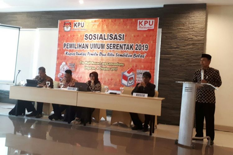 Sosialisasi Pemilihan Umum Serentak 2019 di Hotel The Wujil Ungaran yang digelar KPU Kabupaten Semarang, Rabu (4/10/2017).