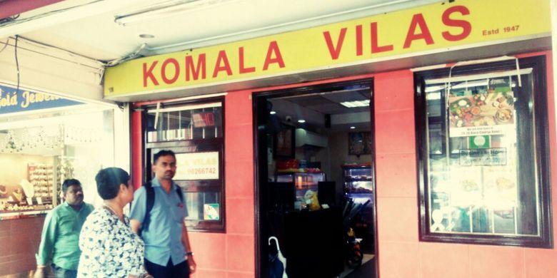 Restauran Komala Vilas merupakan restauran India tertua di kawasan Little India, Singapura, Sabtu (16/7/2017). Harga makanan dan minumannya cukup bersahabat di kantong pelancong.