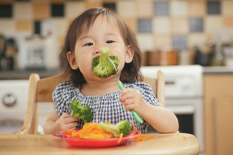 Ilustrasi anak makan sayur