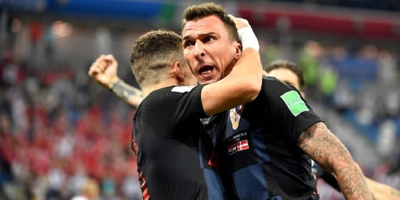 Mario Mandzukic merayakan gol Kroasia ke gawang Denmark pada pertandingan babak 16 besar Piala Dunia 2018 di Nizhny Novgorod, 1 Juli 2018.
