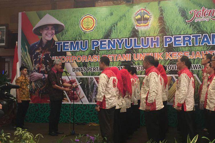 Gubernur Jawa Tengah Ganjar Pranowo menghadiri Temu Penyuluhan Pertanian di Semarang, Selasa (10/10/2017).