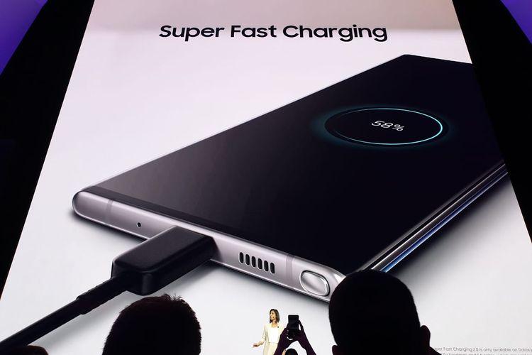 Super fast charging Galaxy Note 10, bisa diisi 100 persen dalam 30 menit