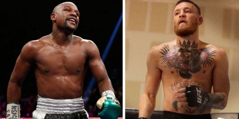Eks petinju asal Amerika Serikat, Floyd Mayweather Jr, dan pemegang sabuk UFC kelas ringan, Conor McGregor.