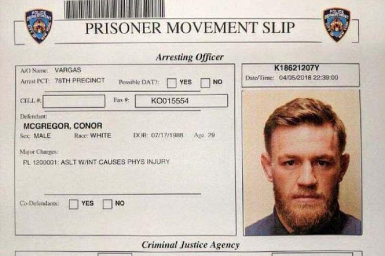 Bukti penahanan Conor McGregor
