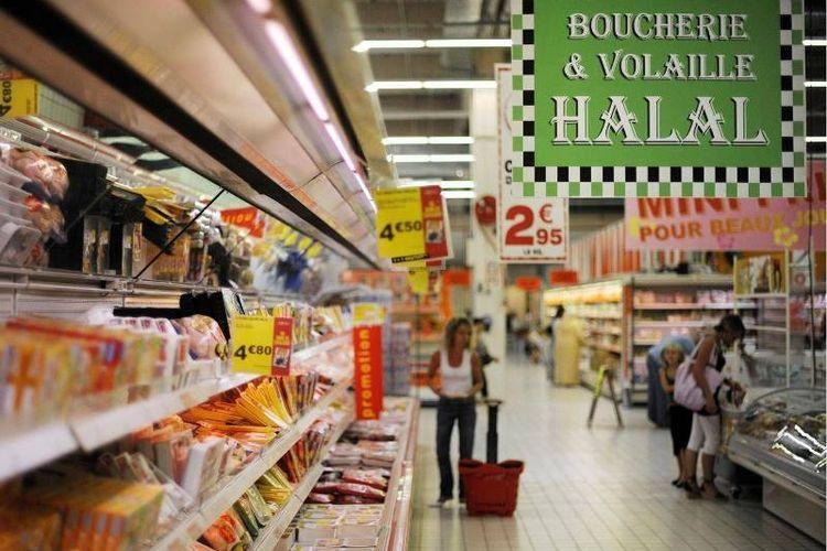 Ilustrasi toko makanan dan minuman halal di Perancis.