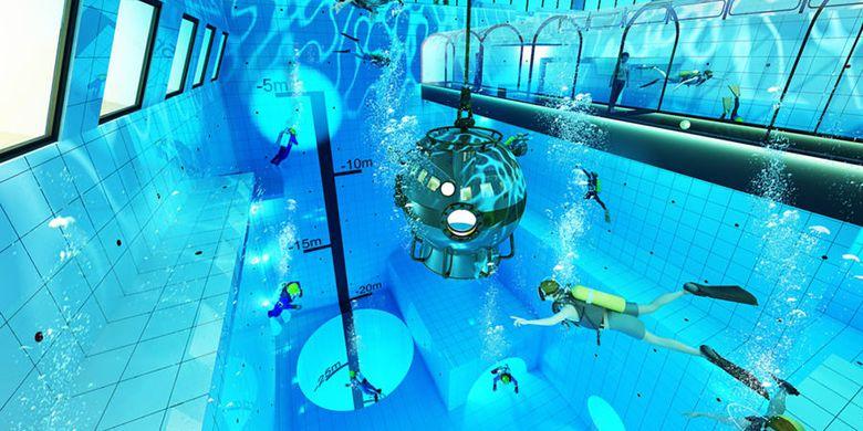 Deepspot, kolam renang terdalam di dunia 2019 berlokasi di Polandia dengan kedalaman 45 meter.