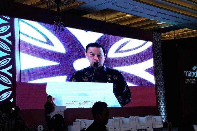 Kepala Badan Koordinasi Penanaman Modal (BKPM) Thomas Lembong ketika menjadi pembicara di Market Economy Outlook 2019 di Jakarta, Rabu (5/12/2018).