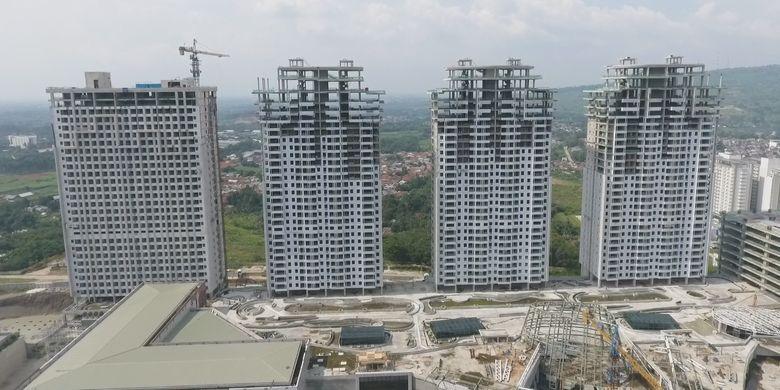 Pembangunan apartemen Opus Park di Sentul City, Bogor, saat ini sudah memasuki tahap finishing.
