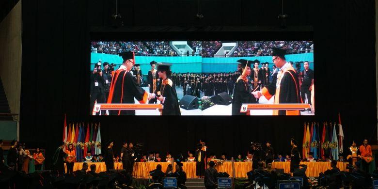 Unika Atma Jaya (UAJ) menggelar acara Wisuda Sarjana ke-73 dan Pascasarjana ke-47 di Gedung Jakarta Convention Center, Jakarta (14/5/2019) bagi 953 wisudawan terdiri dari 844 lulusan program sarjana dan 104 lulusan program pascasarjana.