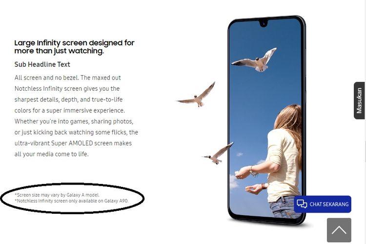 Halaman Samsung Indonesia indikasikan Galaxy A90 akan mengusung kamera opo-up.