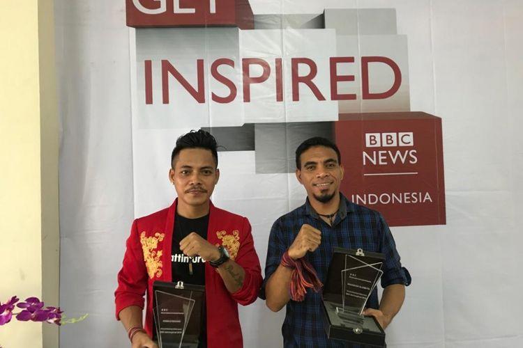 Ronald Regang (kiri) dan Iskandar Slameth saat roadshow BBC Get Inspired di Universitas Merdeka Malang, Kamis (14/2/2018).