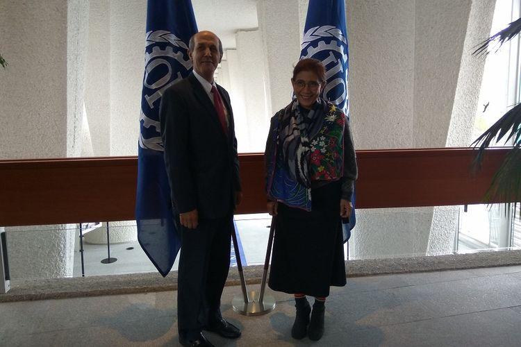 Menteri Kelautan dan Perikanan SUsi Pudjiastuti dan Wakil Tetap RI untuk PBB di Jenewa Hasan Kleib, usai bertemu dengan Organisasi Buruh Sedunia (ILO), Selasa (28/11/2017),