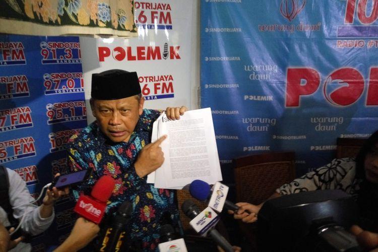 Pengacara First Travel Eggi Sudjana dalam sebuah diskusi di kawasan Cikini, Jakarta Pusat, Sabtu (12/8/2017).
