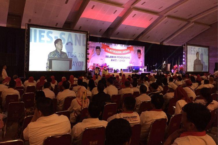 Suasana acara silaturahim relawan Anies Baswedan dan Sandiaga Uno di JIExpo Kemayoran, Jakarta Pusat, Minggu (13/8/2017).