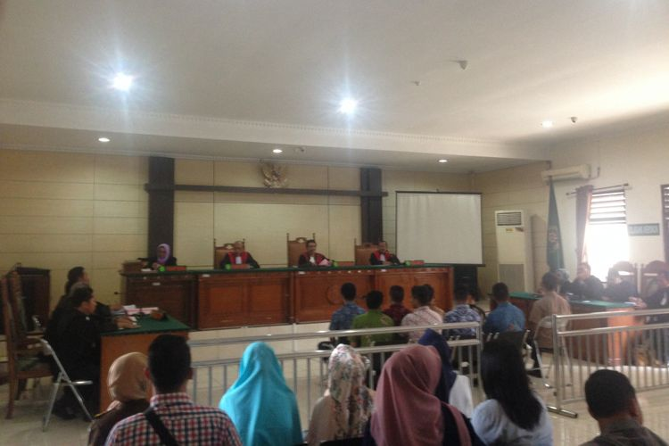 Sidang kasus penganiayaan hingga tewas taruna Akpol Brigdatar Muhammad Adam di PN Semarang, Kamis (2/11/2017).
