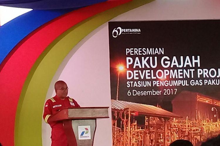 Kepala SKK Migas Amien Sunaryadi saat memberikan sambutan pada peresmian Stasiunpengumpul Gas Paku Gajah dan Kuang di Muara Enim, Palembang, Rabu (6/12/2017.