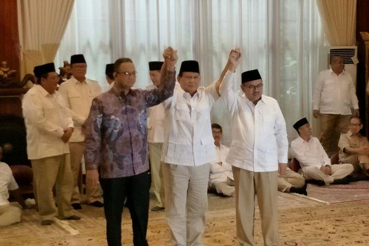 Prabowo Subianto, Anies Baswedan, dan Sudirman Said saat mendeklarasikan Sudirman sebagai Cagub Jawa Tengah