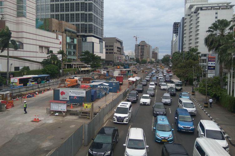 Suasana di MH Thamrin pasca pencabutan larangan sepeda motor oleh MA, Selasa (9/1/2018)