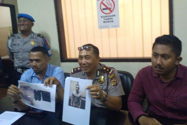 Kapolsek Kuta Kompol I nyoman Wirajaya (tengah) saat mberikan keterangan pers mengenai penyelidikan video dugaan pelecehan terhadap warga Slandia baru yang sepat viral di media sosial