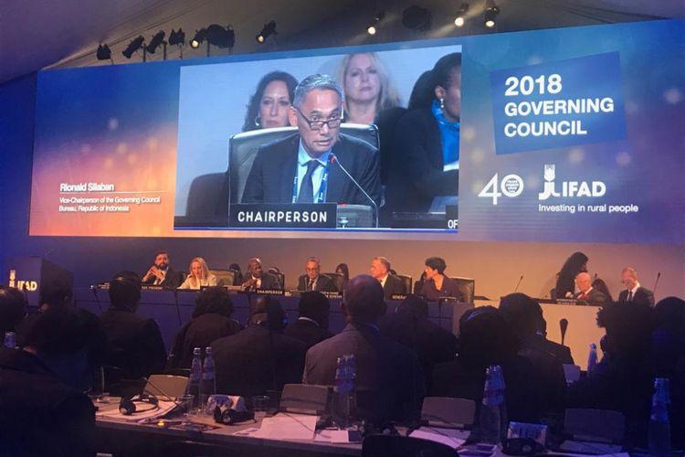 Rionald Silaban, Staf Ahli Menkeu bidang Makro Ekonomi dan Keuangan Internasional, terpilih sebagai Vice-Chair/Wakil Ketua IFAD periode 2018-2020