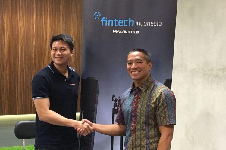 Ketua Kelompok Kerja Peer to Peer Lending Asosiasi FinTech Indonesia (AFTECH) Reynold Wijaya dan Wakil Ketua Umum AFTECH Adrian Gunadi saat menggelar diskusi di Centennial Tower, Jakarta, Selasa (6/3/2018).
