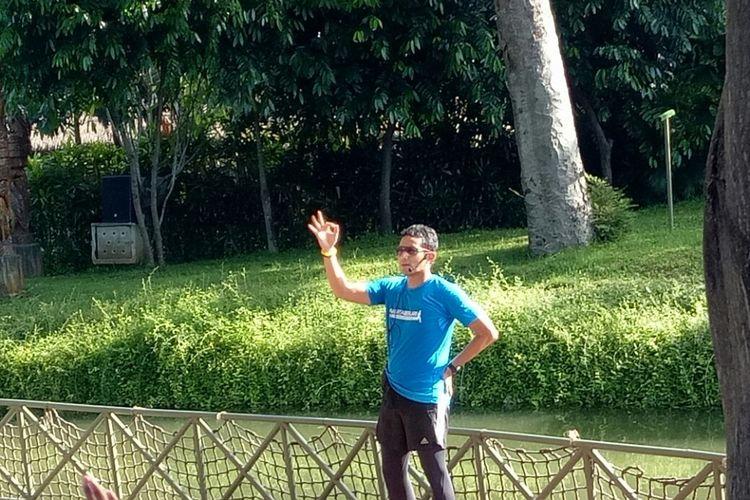 Wakil Gubernur DKI Jakarta Sandiaga Uno di Ecopark Ancol, Jakarta Utara, Minggu (1/4/2018).