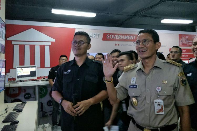 Wakil Gubernur DKI Jakarta Sandiaga Uno di Telkom Living Lab Smart City Nusantara, Jalan Gunung Sahari, Selasa (10/4/2018).