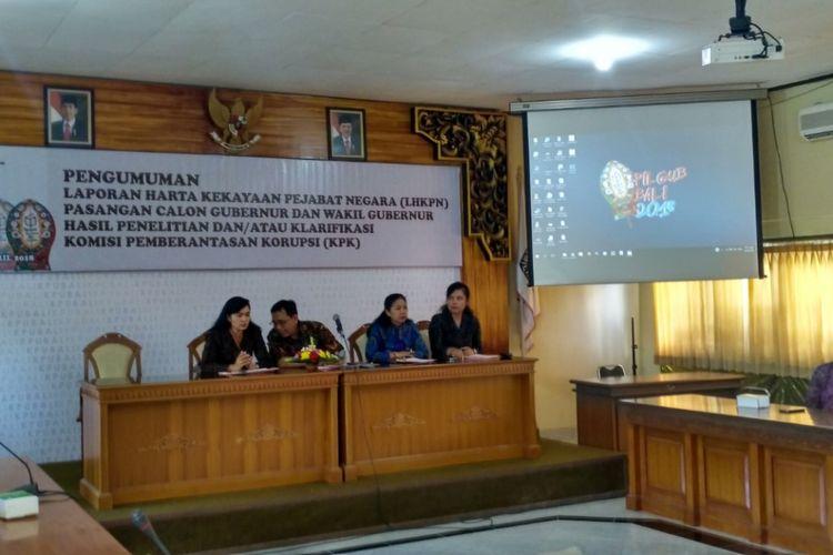 KPU Bali umum LHKPN pasangan calon gubernur dan wakil gubernur Bali