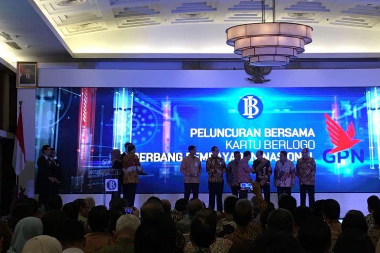Suasana peluncuran bersama kartu berlogo Gerbang Pembayaran Nasional (GPN) di Bank Indonesia, Kamis (3/5/2018). Turut hadir Gubernur BI Agus Martowardojo, Menteri BUMN Rini Soemarno, Menteri Sosial Idrus Marham, serta pemangku kepentingan lain dari perbankan, Otoritas Jasa Keuangan, dan perwakilan asosiasi terkait.