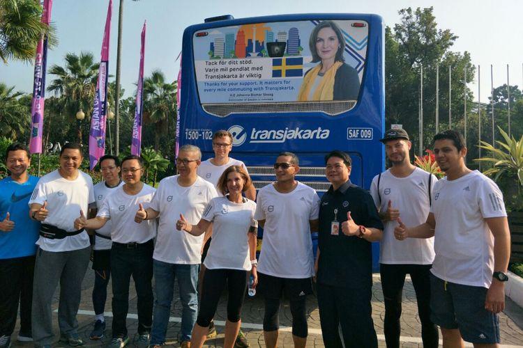 Wakil Gubernur DKI Jakarta Sandiaga Uno bersama Duta Besar Swedia untuk Indonesia Johanna Bisnar Skoog di Balai Kota DKI Jakarta, Jumat (13/7/2018).
