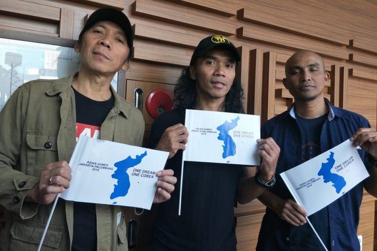 Bimbim, Kaka dan Ivan Slank saat ditemui di kawasan Kuningan, Jakarta Selatan, Selasa (31/7/2018).