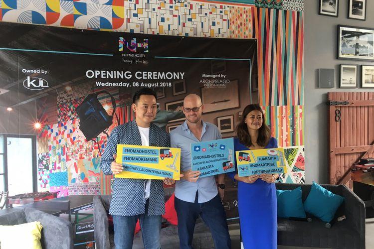 Opening Nomad Hostel Kemang, Jakarta Selatan, Rabu (8/8/2018).