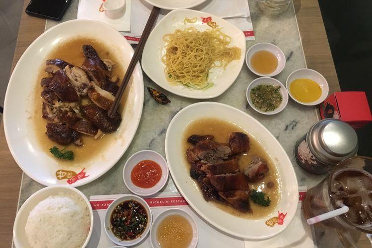 Hidangan makanan dari  Kams Roast Indonesia, restoran berlabel Michelin Star dari Hongkong membuka gerai di Pantai Indah Kapuk Jakarta.