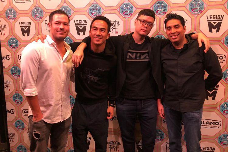 (Dari kiri) Zack Lee, Joe Taslim, sutradara Timo Tjahjanto, dan produser Wicky V Olindo menghadiri FanFest di AS.