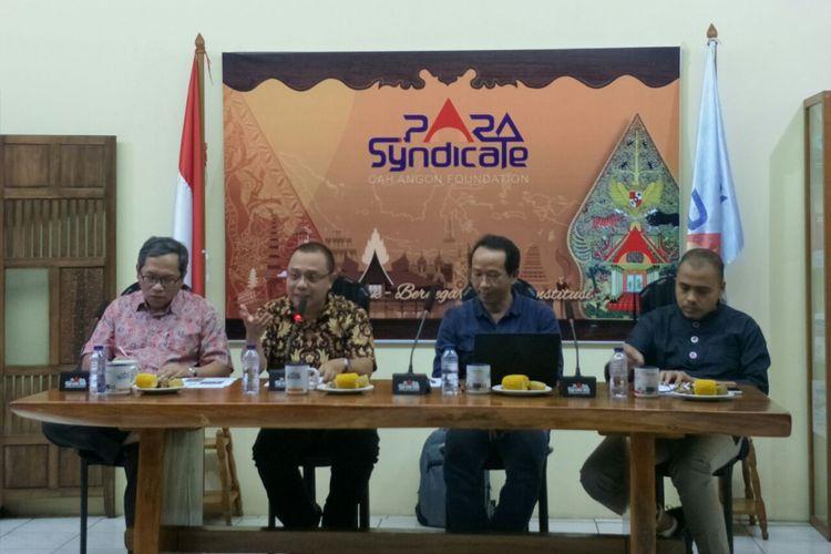 Diskusi publik yang digelar PARA Syndicate bertema Forum Media : Perang Wacana Kampanye Pilpres antara Kedangkalan vs Kedalaman Visi di Jalan Wijaya Timur, Jumat (9/11/2018).