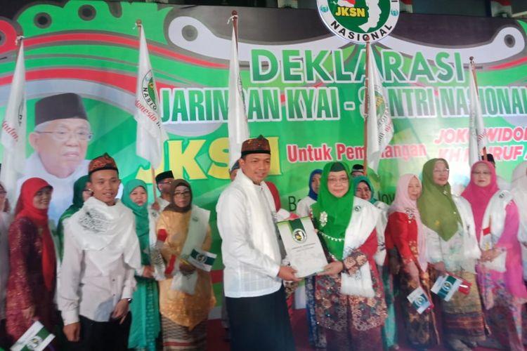 Jaringan Kiai Santri Nasional (JKSN) menggelar deklarasi dukungan untuk memenangkan pasangan Calon Presiden dan Wakil Presiden RI Joko Widodo - Ma?ruf Amin di Jawa Barat.   Deklarasi digelar di GOR C-Tra Arena, Jalan Cikutra, Kota Bandung, Kamis (15/11/2018).