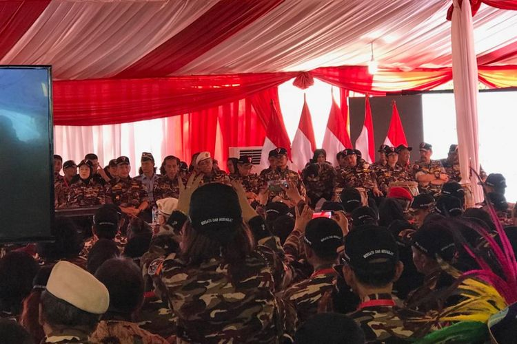Acara pembukaan Jambore Kebangsaan Bela Negara Keluarga Besar FKPPI, di Bumi Perkemahan Ragunan, Jakarta Selatan, Jumat (7/12/2018).