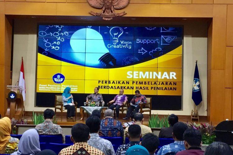 Kabalitbang Kemendikbud Totok Suprayitno dalam Seminar Perbaikan Pembelajaran Berdasarkan Hasil Penilaian, di Graha Utama Kemendikbud, Jakarta, Selasa (11/12/2018).