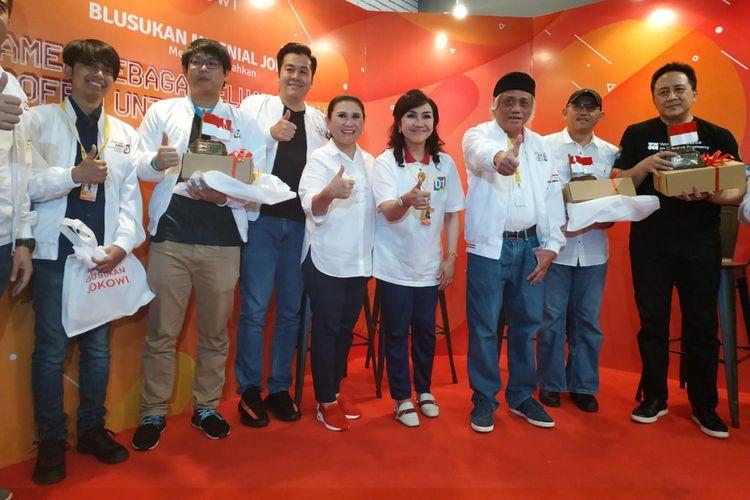 Sejumlah pelaku esport Indonesia bersama Kepala Badan Ekonomi Kreatif (Bekraf) Triawan Munaf menghadiri acara diskusi Games Sebagai Peluang Usaha dan Profesi untuk Generasi Milenial di kawasan Raden Saleh, Cikini, Jakarta, Minggu (23/12/2018).