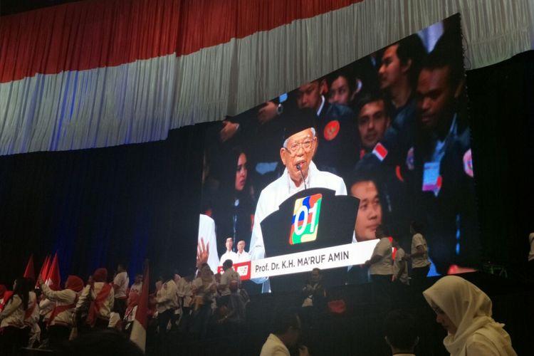 Calon wakil presiden nomor urut 01 Maruf Amin menutup pidato kebangsaan Jokowi di Sentul, Minggu (24/2/2019).