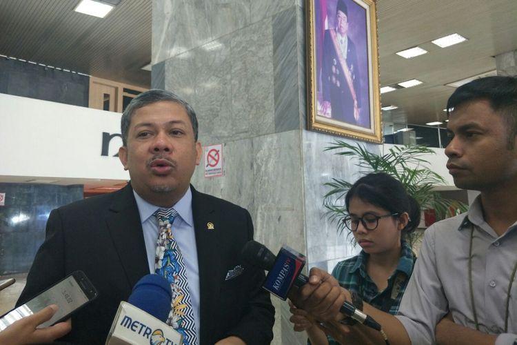 Wakil Ketua DPR Fahri Hamzah di Kompleks Parlemen, Senin (4/3/2019).