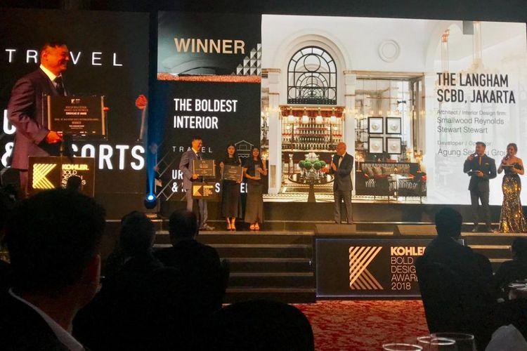 The Langham Residence memenangi kategori Travel Urban and Resirts Hotel Interior Design pada ajang Kohler Bold Design Awards 2018, yang digelar Jumat (8/3/2019).