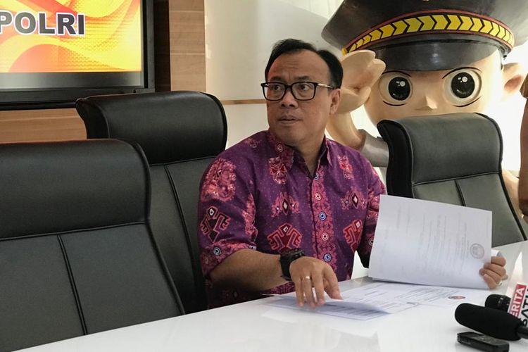 Kepala Biro Penerangan Masyarakat Humas Polri, Brigjen Pol Dedi Prasetyo, di Gedung Humas Mabes Polri, Jakarta Selatan, Jumat (15/3/2019).