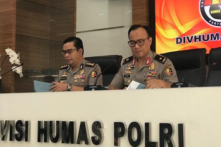 Kepala Biro Penerangan Masyarakat Humas Brigjen (Pol) Dedi Prasetyo di Gedung Humas Mabes Polri, Jakarta Selatan, Kamis (9/5/2019).
