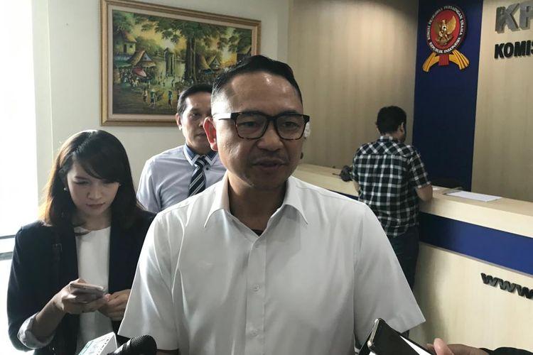 Direktur Utama Garuda Indonesia Ari Askhara di Kantor KPPU, Jakarta, Senin (1/7/2019).(KOMPAS.com/AKHDI MARTIN PRATAMA)
