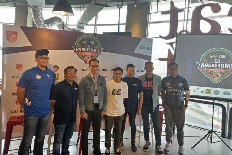Konferensi pers IBL Gojek 3x3 Basketball Indonesia Tour 2019 di Jakarta, Kamis, 4 Juli 2019. IBL 3x3 akan dibuka di Cirebon pada 6-7 Juli nanti.