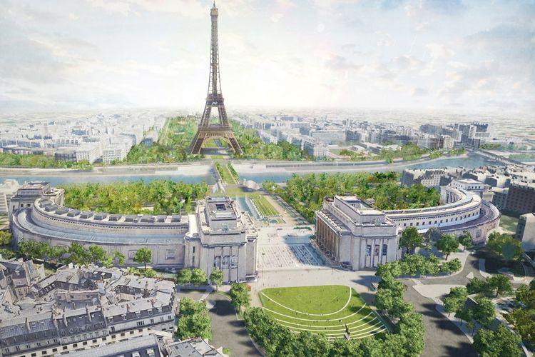 Desain ulang area penghijauan di sekitar Menara Eiffel, Paris, Perancis.