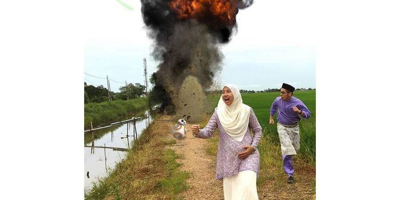 Foto unik sebuah keluarga di Malaysia saat Lebaran viral. Foto ini mengambil tema berbeda setiap tahunnya. Ini foto Lebaran 2016 dengan tema Star Wars.(Twitter Nur Afifah)